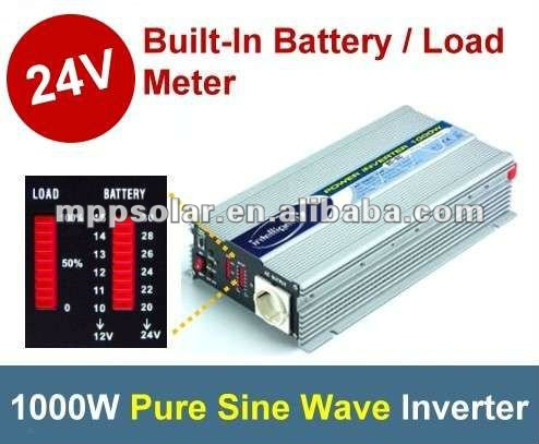 1000W with battery meter pure sine wave inverter 24V dc to AC power inverter