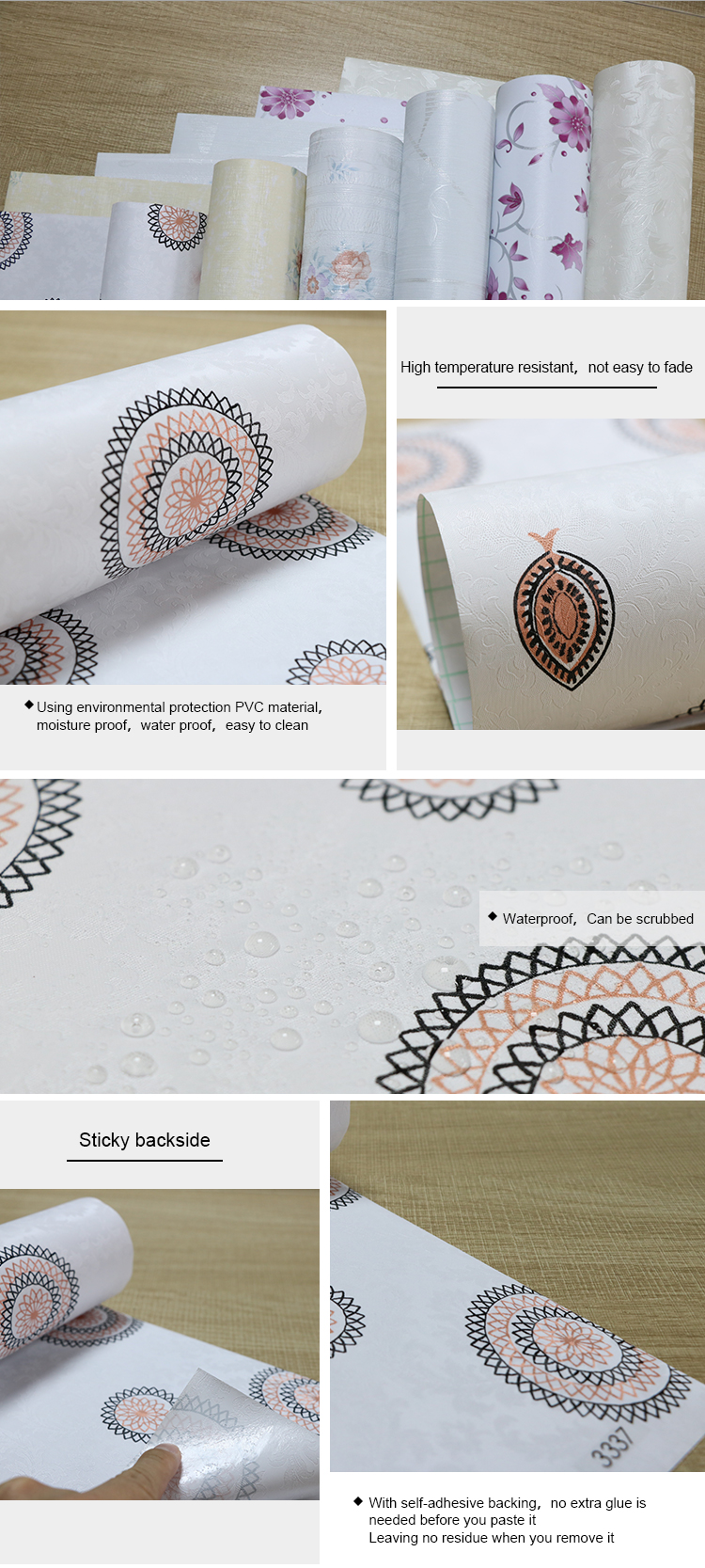 Modern Top Quality Cheap Waterproof Circle Wallpaper