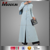 Light Blue Denim Long Apparel Modest Women Abaya Dubai Designer Dress