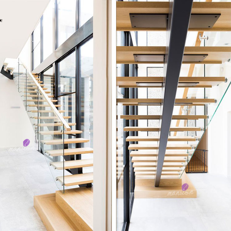 Residential Steel Stairs with Glass Railing
