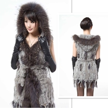 Beautiful Sweep Lady Long Style Plus Size Fur Down Vest With Fur Hood With Belt