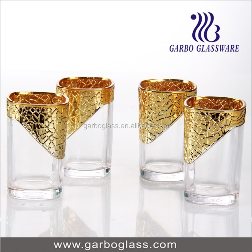6pcs 8oz gold-plating glass tumbler set,moroccan golden tea glass cup