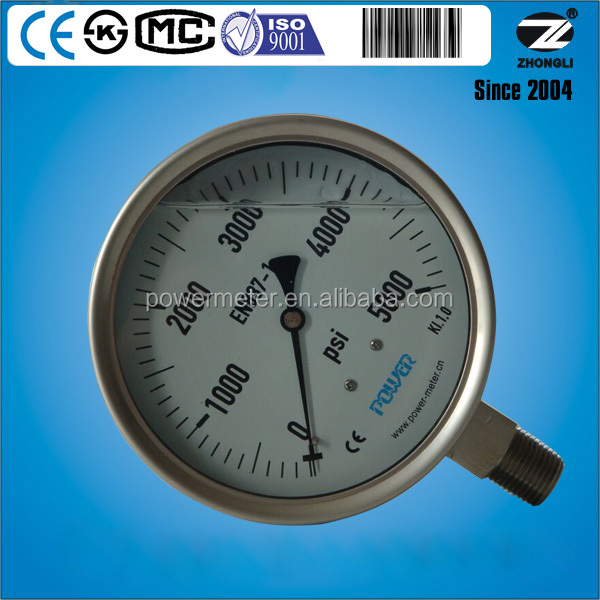 Factory price 4.5inch stainless steel pressure gauge manometer glycerin or silicone oil filled