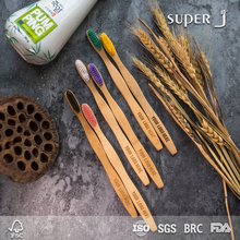 New style Biodegradable bamboo toothbrush with charcoal bristle