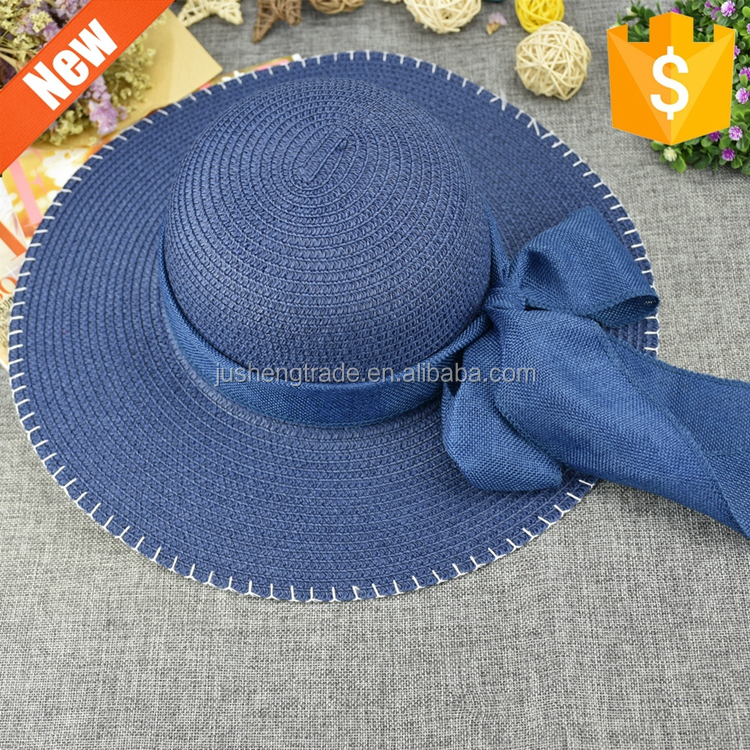 Wholesale customized multi color popular ladies sunny beach hats lady floppy straw hat