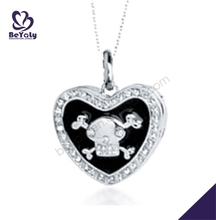 Black enamel heart with skull silver mothers day necklaces