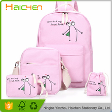 2017 Women Canvas Backpack Escolar Fresh Printing Backpacks Rucksack 4 Pieces/set School Bags For Girls Mochila