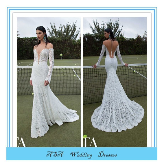 Latest Modern High Quality Sexy Mermaid Wedding Dress V-neck Berta Bridal Sheer Lace Long Sleeve Wedding Dresses 2015(BTB12)