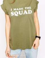 Sport squad t-shirts o-neck green dress design women apparel wholesale