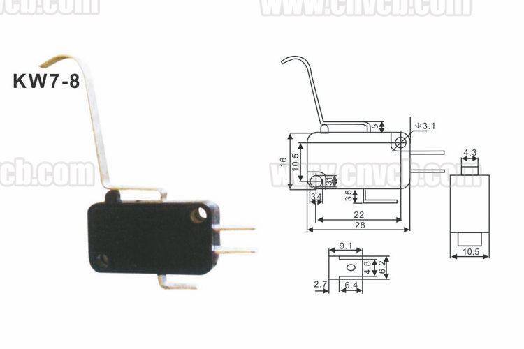 M20 KW7-8 3pin lever electrical micro switch12V long bent arc good micro switch