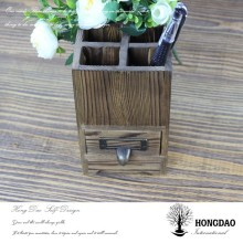 HONGDAO Natural color flocking liner wood pen case for Christmas