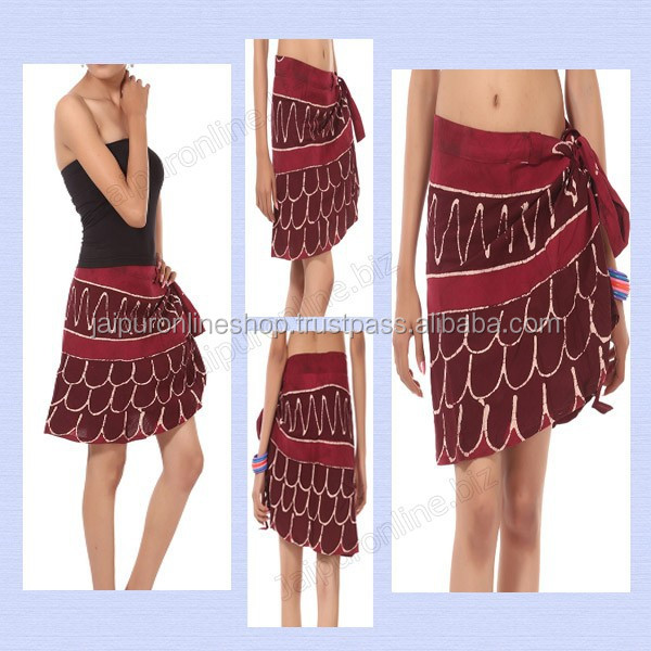 Summer Festival Gypsy Bohemian Wrap Skirt Hippie Cotton Midi Knee Goa Ethnic Wrap Around Skirts