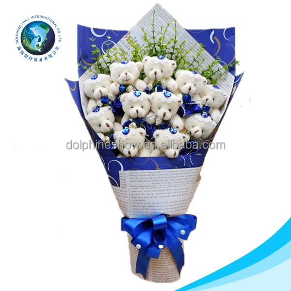 Cartoon fashion plush toy with teddy bear gift white hydrangea bouquet