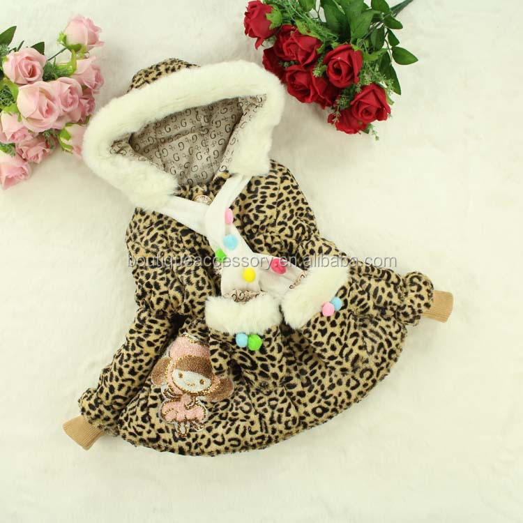 New fashion design girl clothing scarf glove kids winter fur hoodies coats