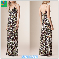 Sexy Fashion deep V neck Spaghetti Strap sleeveless backless Printed maxi dress for women