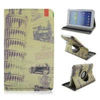 Leaning Tower of Pisa 360 Rotary Folio Stand PU Leather Case For Samsung Galaxy Tab 3 7.0inch P3200, Torre di Pisa Tablet Case