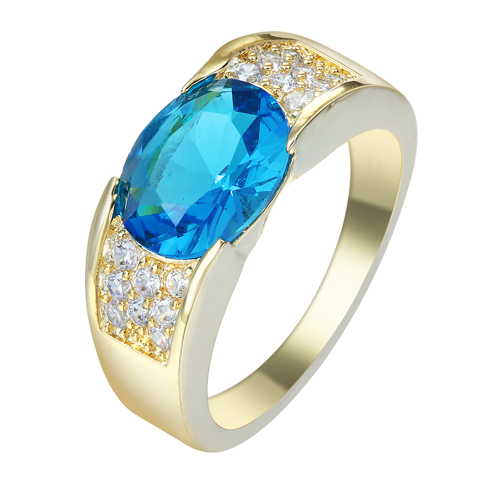 blue zircon gold plated rings for men engagement jewelry 2016 new product