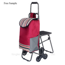 6 Wheels Climbing Stair Folding Trolley Shopping Cart Bag With Stool