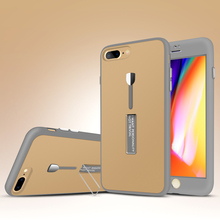 Shockproof Protective Soft TPU Silicon Stand Flip And Hand Holder Phone Case Cover For Apple Iphone 8 Plus