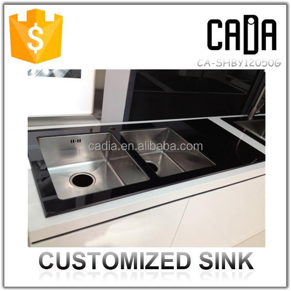 new products on the russian market wholesale deep double stainless steel kitchen sink with drain board