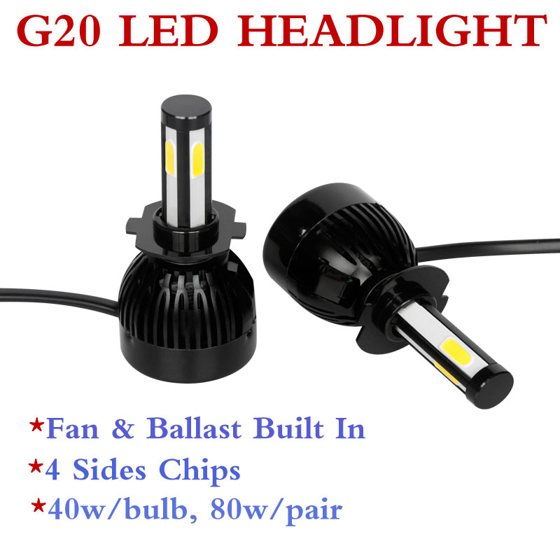 led high power 80w 8000lm g5 led g20 light bulbs 60000k, hid or halogen replacement, auto car led headlight bulb h8 h11 9006