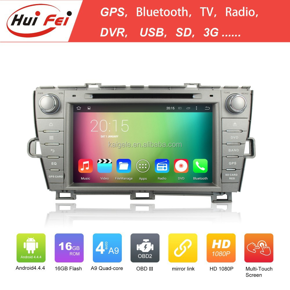 Quad Core Android 4.4 Capacitive Touch Screen 1024*600 Resolution In Car Entertainment Touch Screen <strong>Monitor</strong> For Toyota Prius
