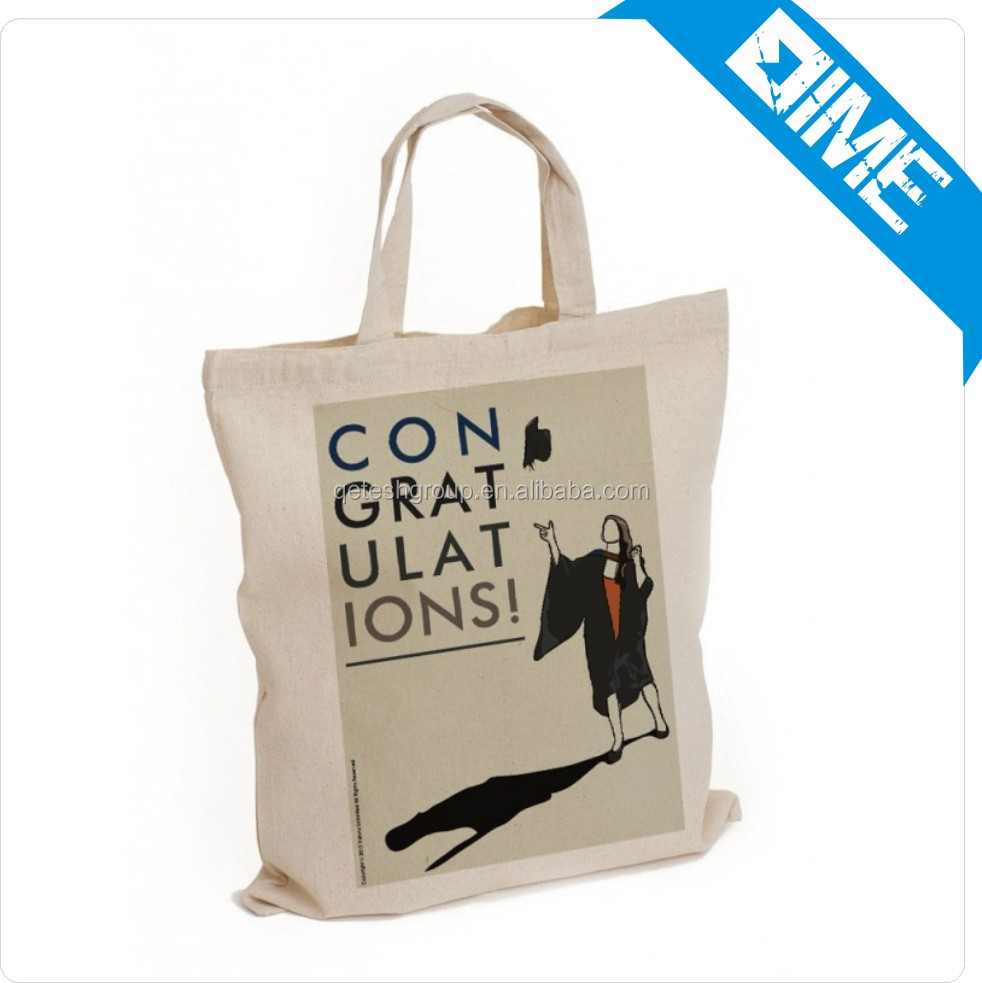 2016 Hot Sale Organic Customized Printed 100% Natural Tote Recycle Canvas Cotton Bag