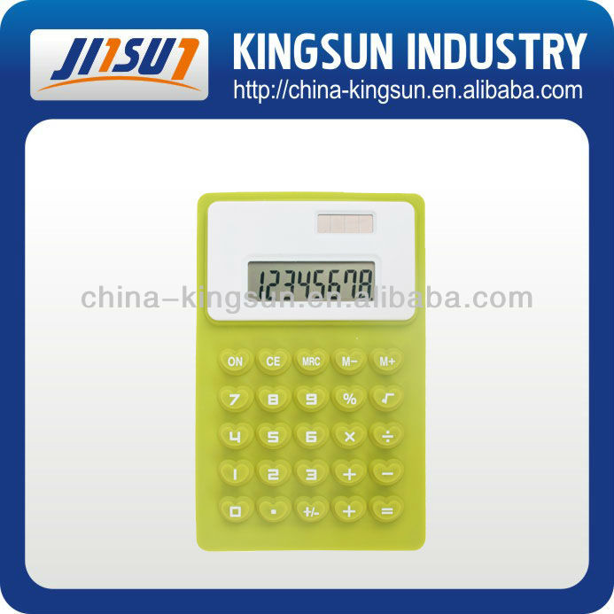 8 digit silicone pocket calculator, folded calculator
