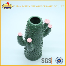 galzed cactus shape white ceramic flower vase