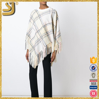 Hot selling mink knitted poncho with fox fur trimming, blue stripe knitted poncho with button placket
