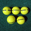 Yellow driving range golf ball with black line and logo printing