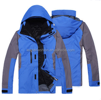 Outdoor waterproof3-in -1 jacket breathable polyester fabric rain coat
