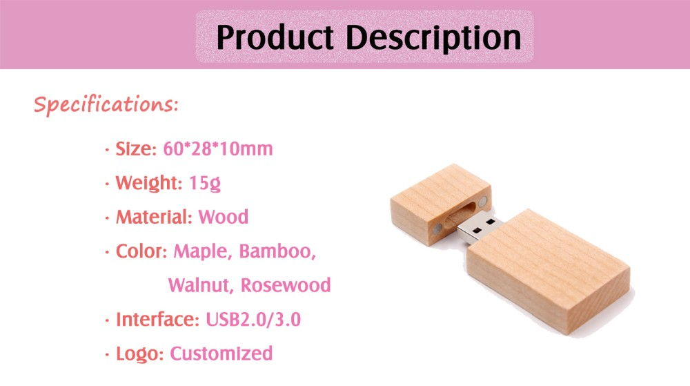 OEM Wholesale Wooden Usb Flash Drive 8GB with Free Logo