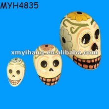 Hand painted ceramic skull shape money saving box