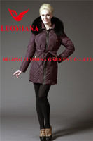 Winter tops ladies women down coat with fur collar