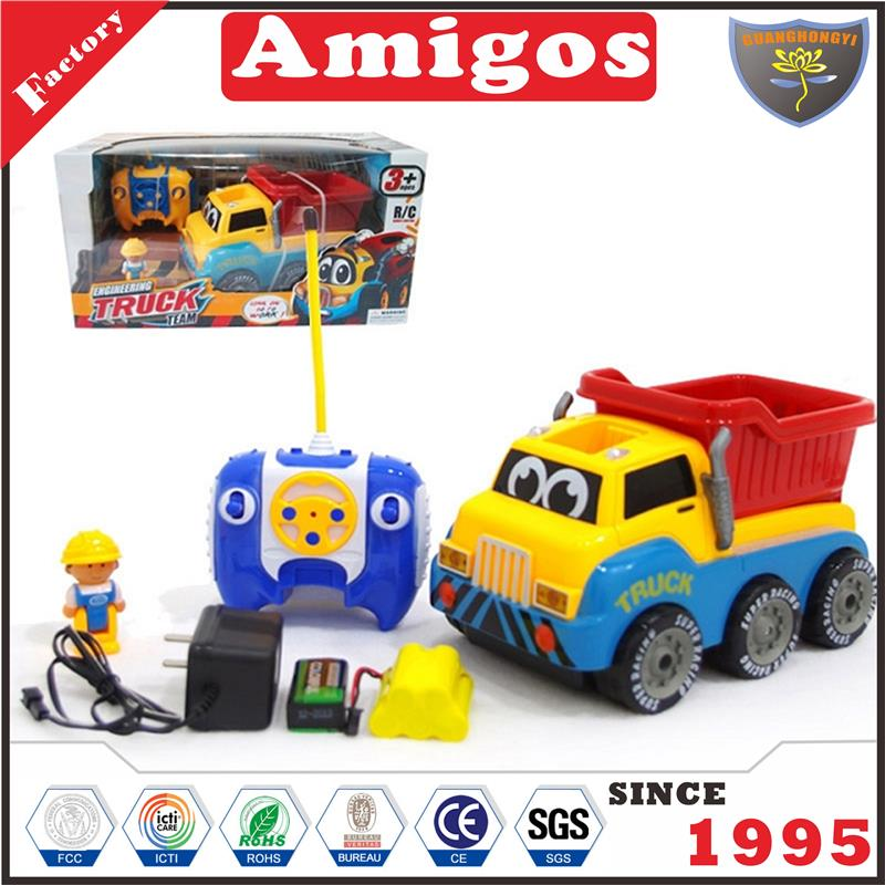 kids toy 4 channel 4WD dump truck with 360 degree rotation/music/light and battery RC engineering vehicle