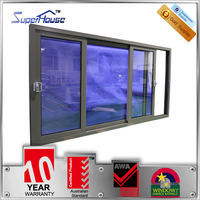 Australia AS2047 standard commercial tinted double glass aluminium sliding window with flynet