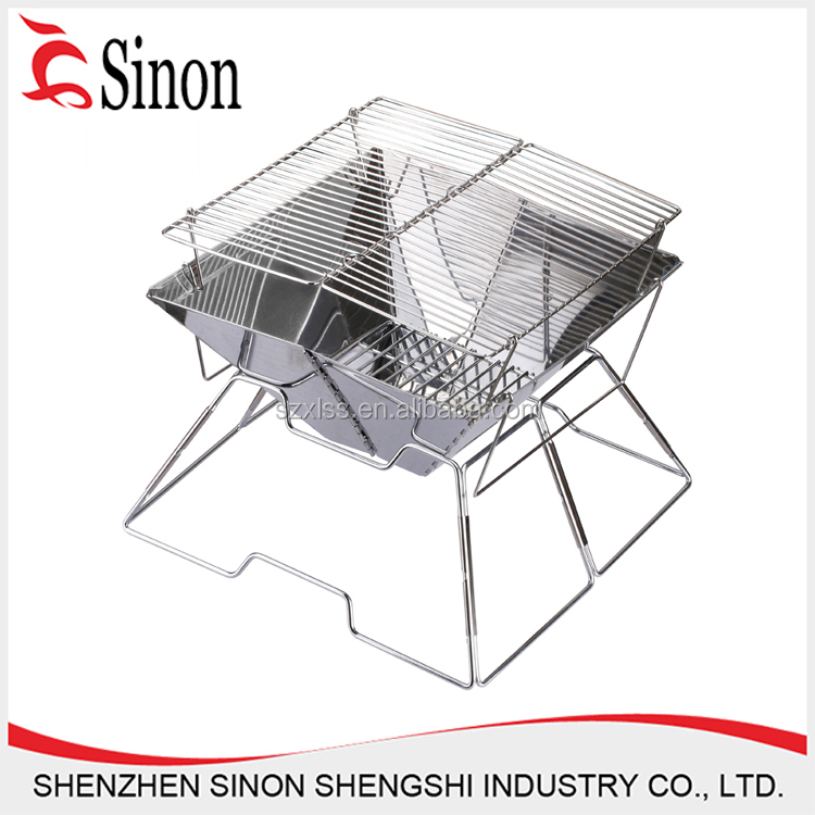Small avenger BBQ grill stainless steel charcoal expanded foldable barbecue stand