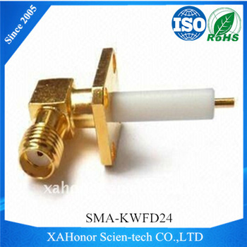 SMA rf connector female right angle with 4 Hole Flange