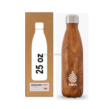 Double wall vacuum 25 oz Insulated Stainless Steel BPA free Water Bottle wood grain fit cup holder