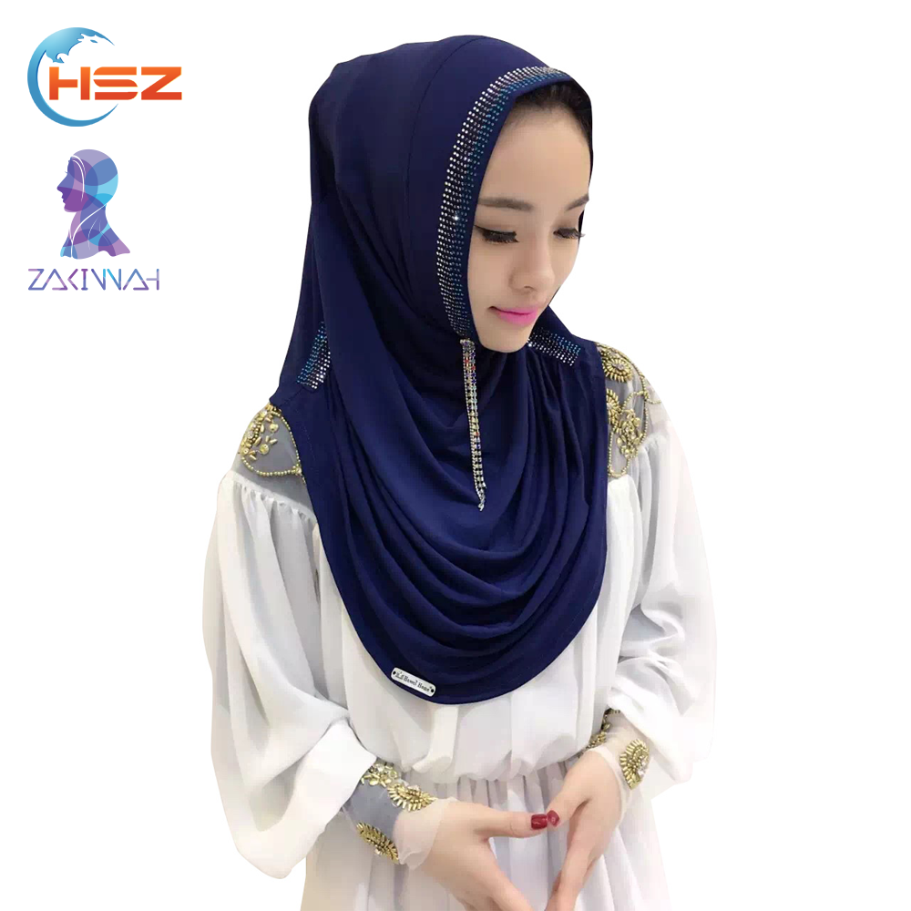 Zakiyyah V030 Elegant Palestine Scarf For Sexy Saudi Girls Long One Piece Pure Hijab Image Wholesale