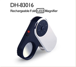 DH-86019 2017 Best Quality Portable Led Reading 5X Illuminated Magnifier Lens,Metal Magnifying Glass With Power Light