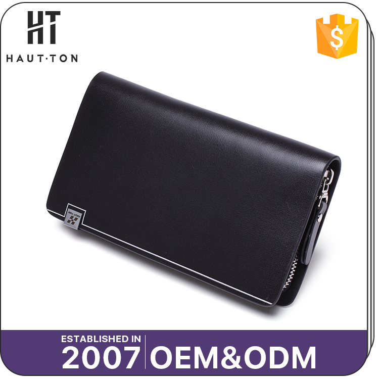 Popular Fashion Man Business Long Multifunction Card Wallets Good Quality Men's Genuine Split Cow Leather Wallet