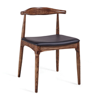 Antique Solid Wood and Waxy PU Leather Luxury Dining Chair