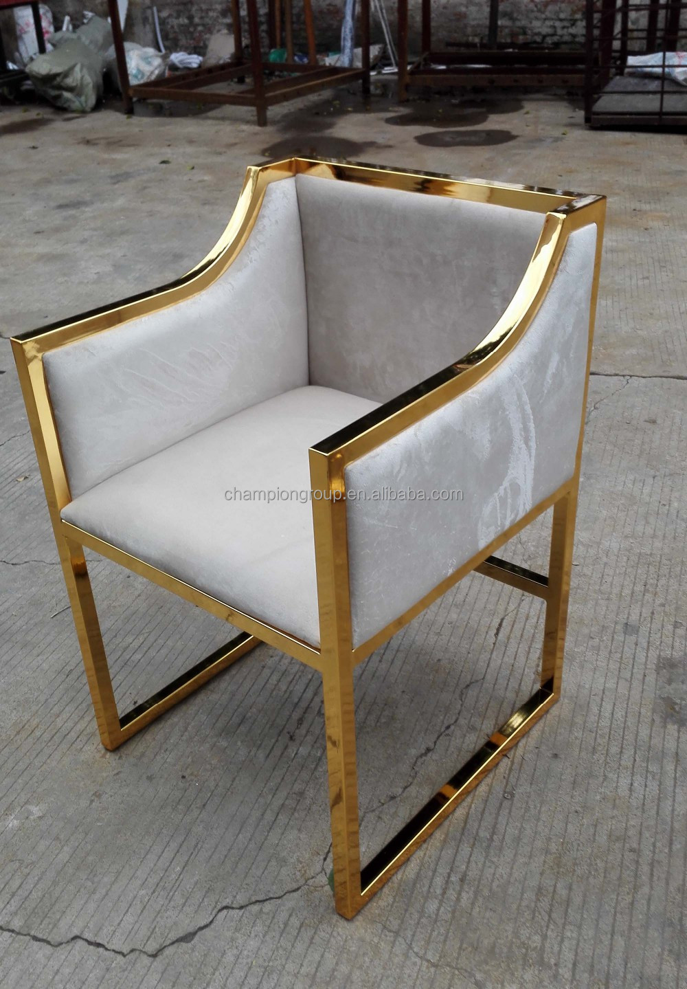 stainless steel gold fabric hotel arm chair