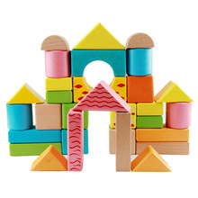 High Quality 30PCS Colorful Beech Building Block MG004 Enlighten Brick Building Toys Wooden Block