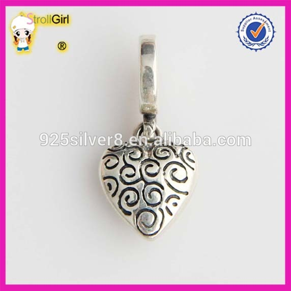 Yiwu Chinia 925 sterling silver heart Charm Beads jewelry making supplies