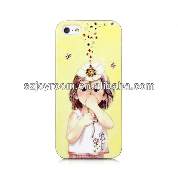 TPU diamond case with fragrance,flower tpu crystal case for iphone 5