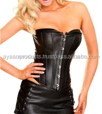 Tube Top Style Crew Neck Leather Corset AP-1706