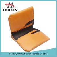 Creative Brown veg tanned leather slim bifold leather wallets china leather